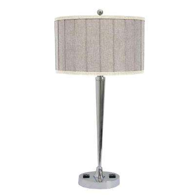 27 in. Tech-Friendly Chrome Metal Table Lamp