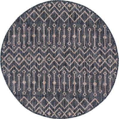 Charcoal/Gray Tribal Trellis Outdoor 4 ft. Round Area Rug