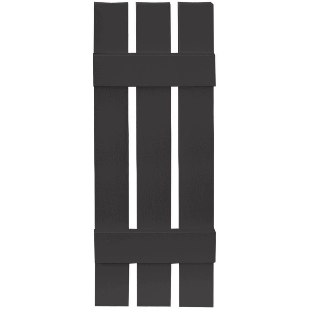 Builders Edge 12 in. x 35 in. Board-N-Batten Shutters Pair, 3 Boards Spaced #002 Black