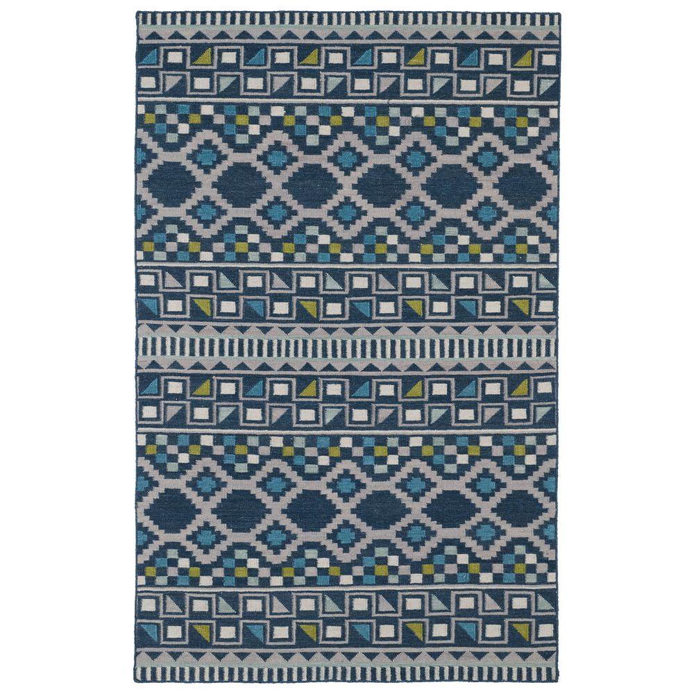 Kaleen Nomad Blue 8 ft. x 10 ft. Area Rug