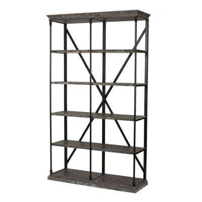 Oak Gray 5-Tier Etagere Shelf