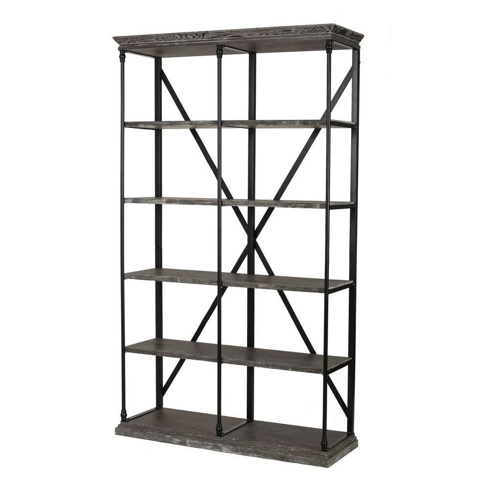 Oak Gray 5-Tier Etagere Shelf