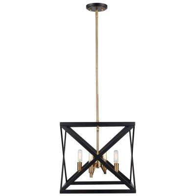 Ackerman 4 Light Rubbed Oil Bronze And Antique Br Pendant