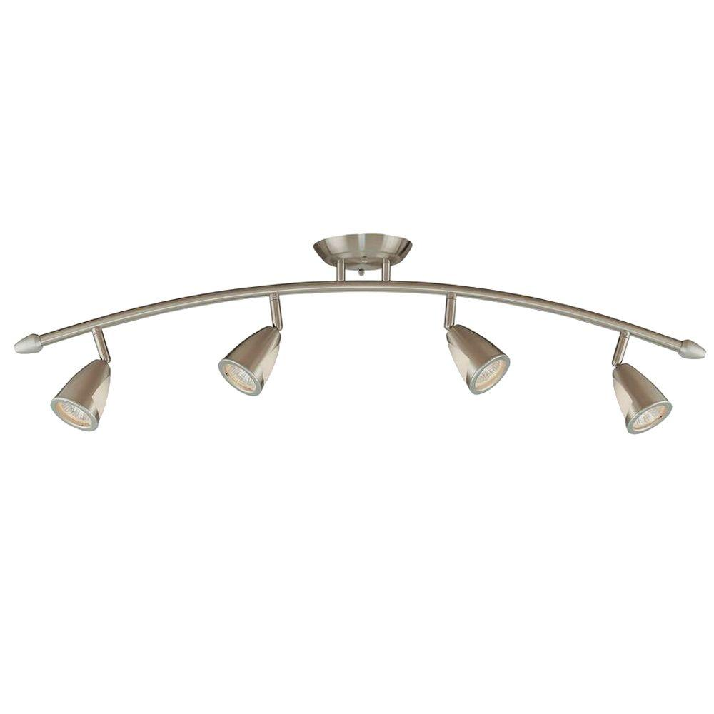 Hampton Bay 4-Light Brushed Steel Ceiling Bow Bar with Metal and Glass Shades