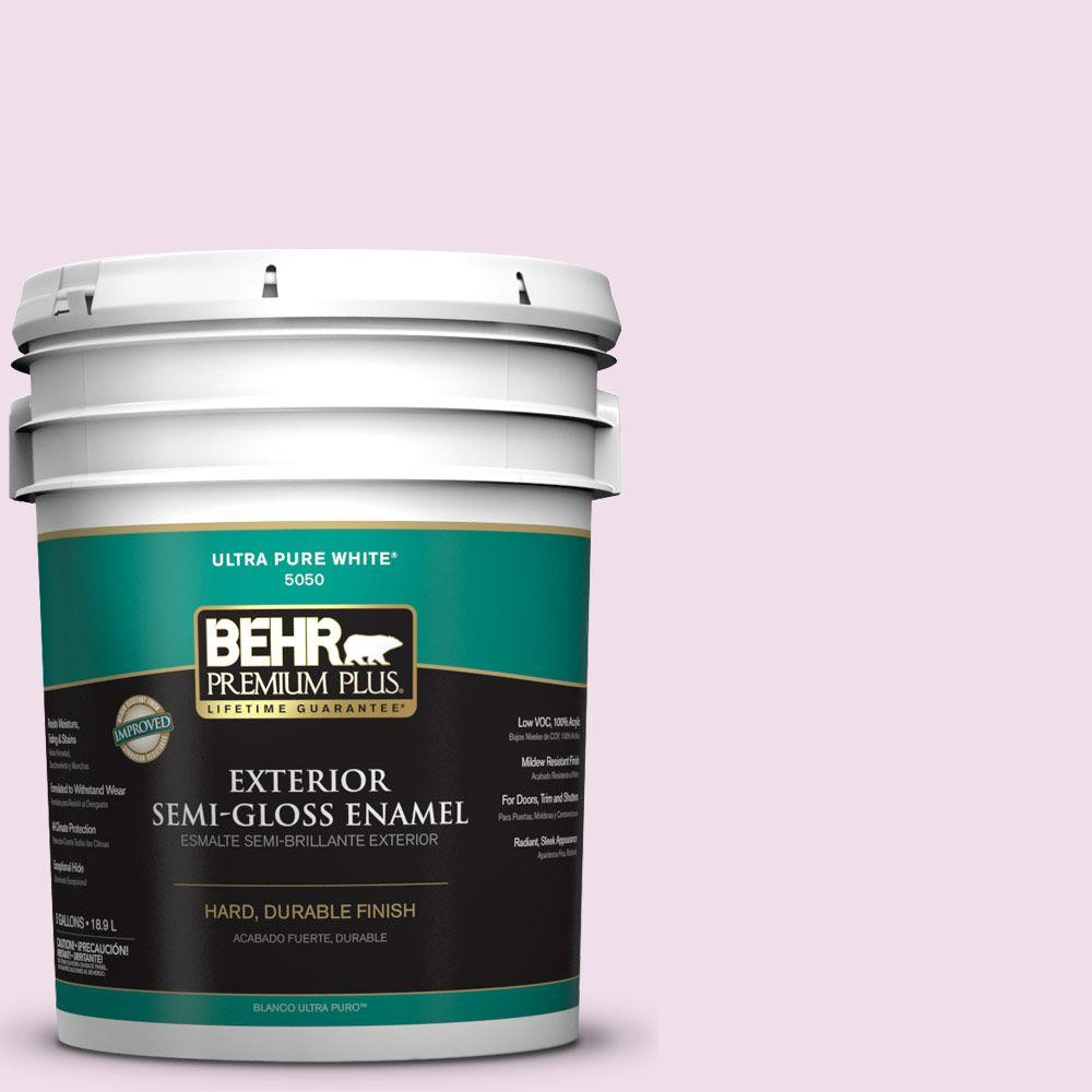 5-gal. #M120-1 Pink Proposal Semi-Gloss Enamel Exterior Paint