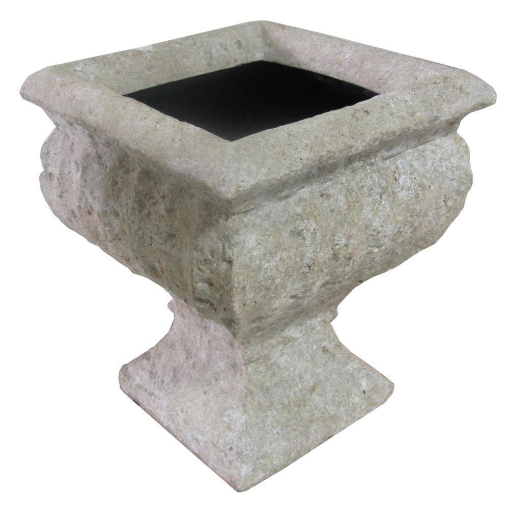 10 in. x 11-3/4 in. Cast Stone Square Volcanic Ash Urn