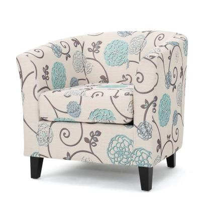 Preston White and Blue Floral Fabric Low back Club Chair