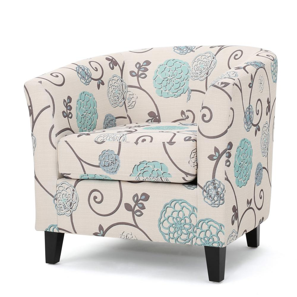 Noble House Preston White And Blue Floral Fabric Low Back Club Chair