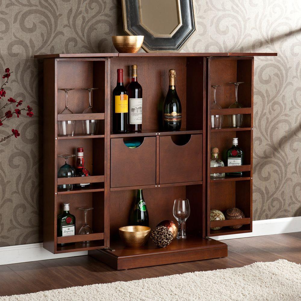 Bristol Walnut Bar with Expandable Storage