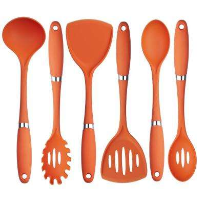 6-Piece Nylon Utensil Set in Orange