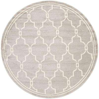 Amherst Light Gray/Ivory 9 ft. x 9 ft. Indoor/Outdoor Round Area Rug