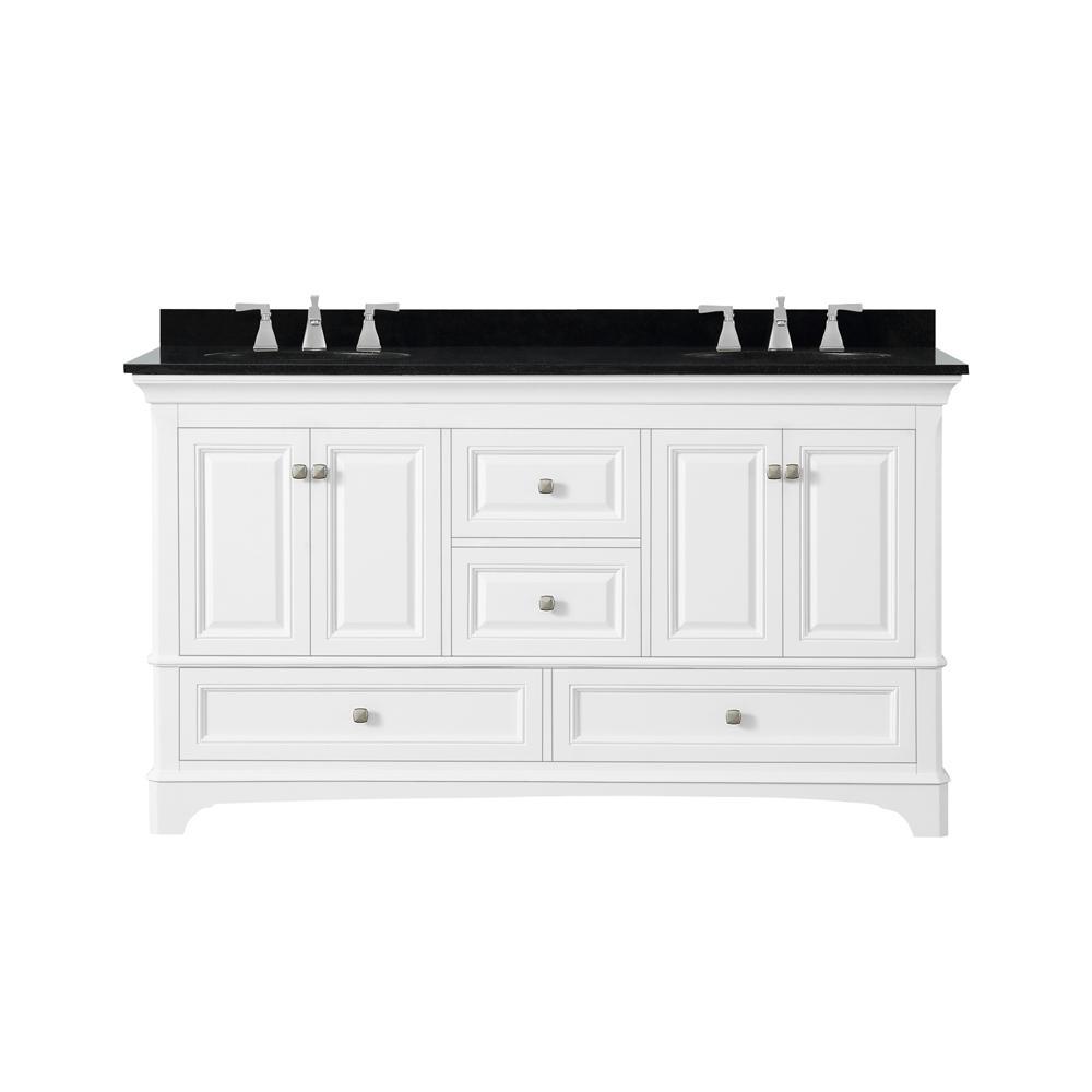 Moorpark 61 in. W Bath Vanity in White with Granite Vanity Top in Black with White Basins