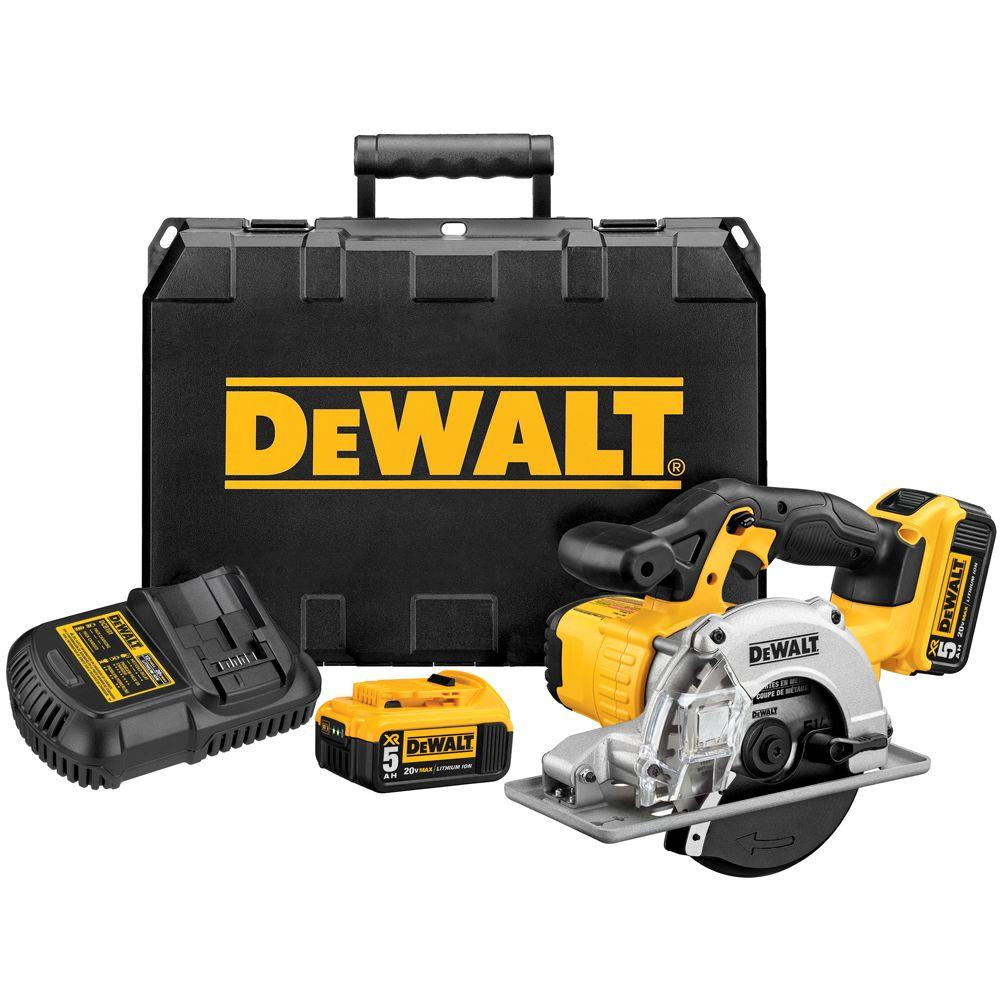 DEWALT 20-Volt MAX Lithium-Ion Cordless Metal Cutting Circular Saw Kit with (2) Batteries 5Ah, Charger and Case