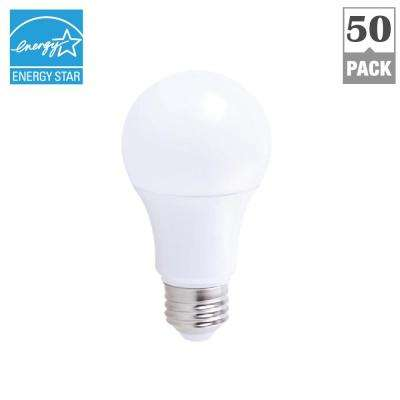 75W Equivalent Soft White 2700K A19 Energy Star and Dimmable 25,000-Hour LED Light Bulb (50-Pack)