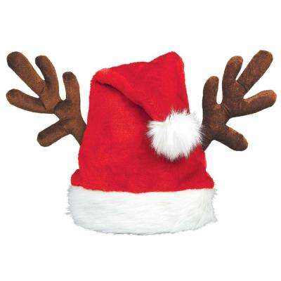 15 in. x 15 in. Santa Christmas Hat with Antlers (2-Pack)
