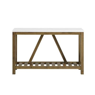 52 in. A-Frame Rustic Marble and Walnut Entry Console Table
