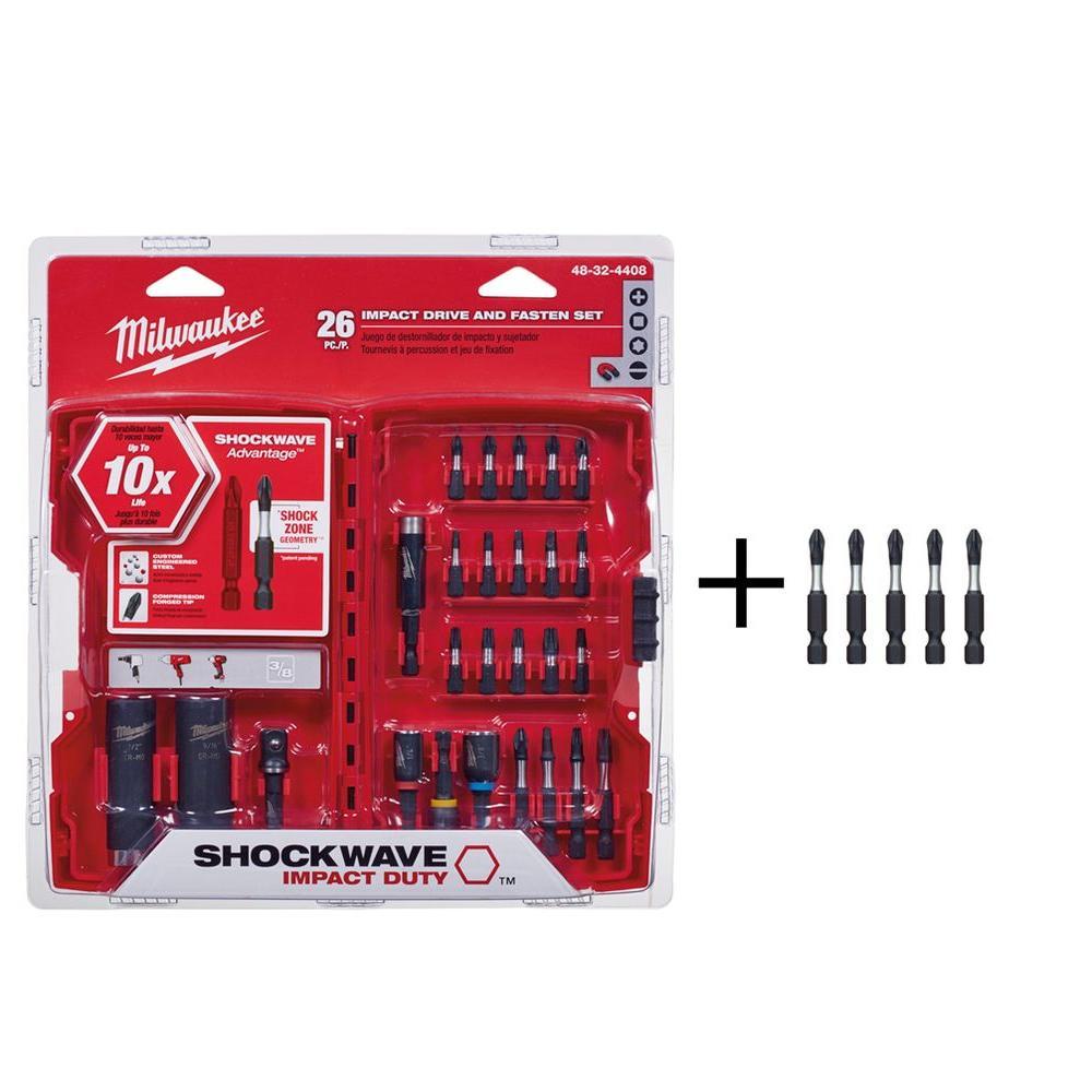 Milwaukee Shockwave Impact Duty Drive and Fasten Bit Set (26-Piece) with Bonus 5 Free Bits