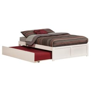 Concord White Full Platform Bed with Flat Panel Foot Board and Twin Size Urban Trundle Bed