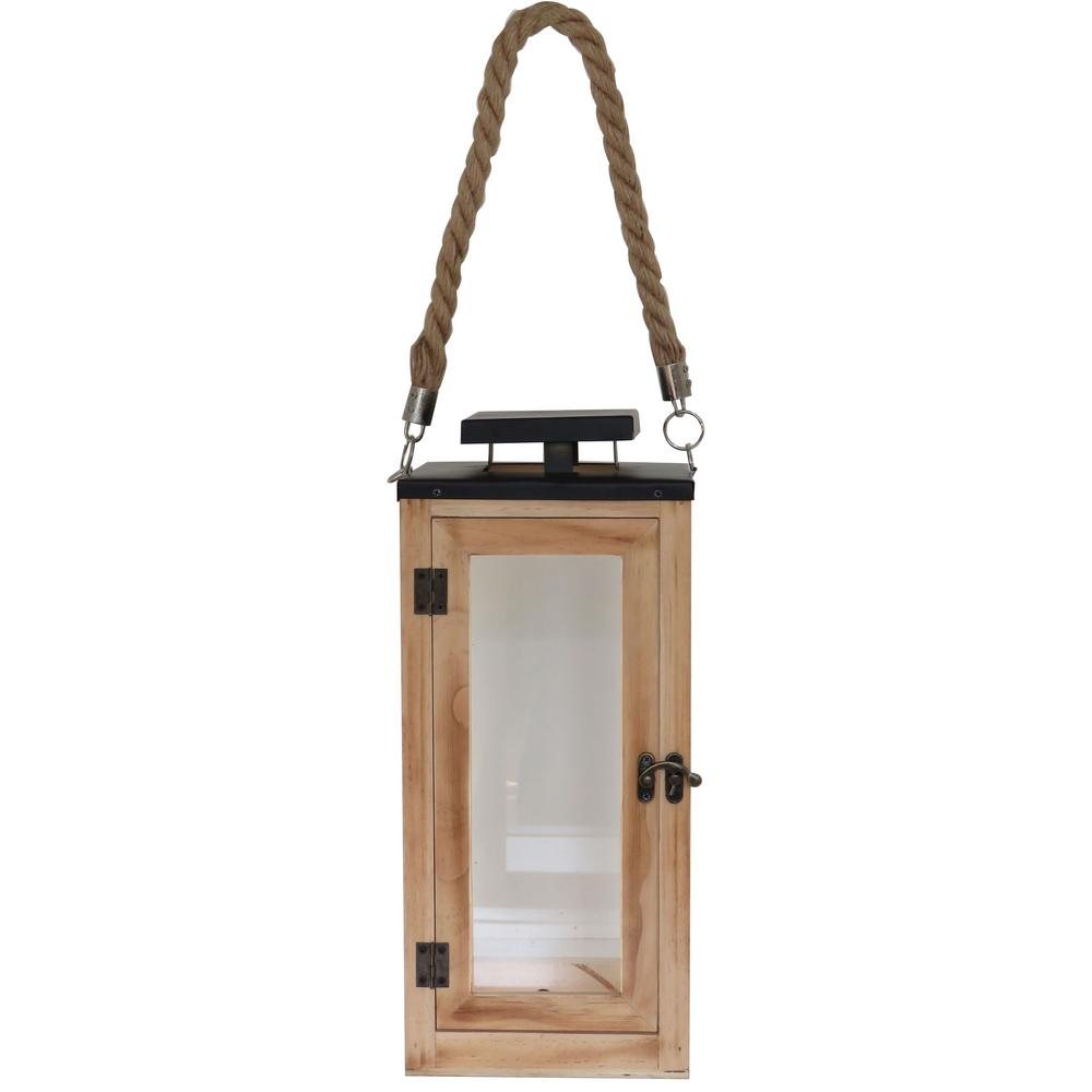 Hampton Bay 14 in. Wood and Glass Lantern with Metal Top