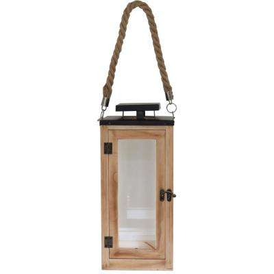 14 in. Wood and Glass Lantern with Metal Top