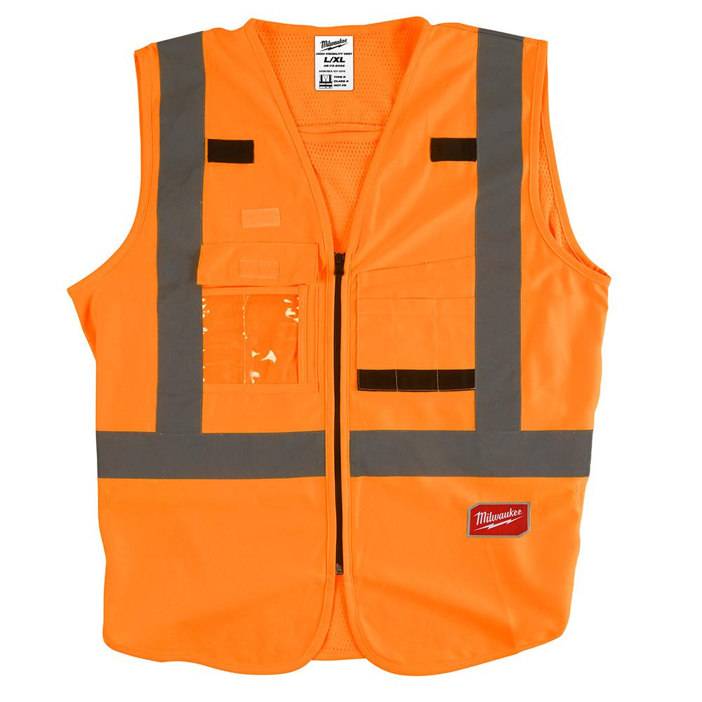 Milwaukee Large/X-Large Orange Class 2 High Visibility Safety Vest with 10 Pockets