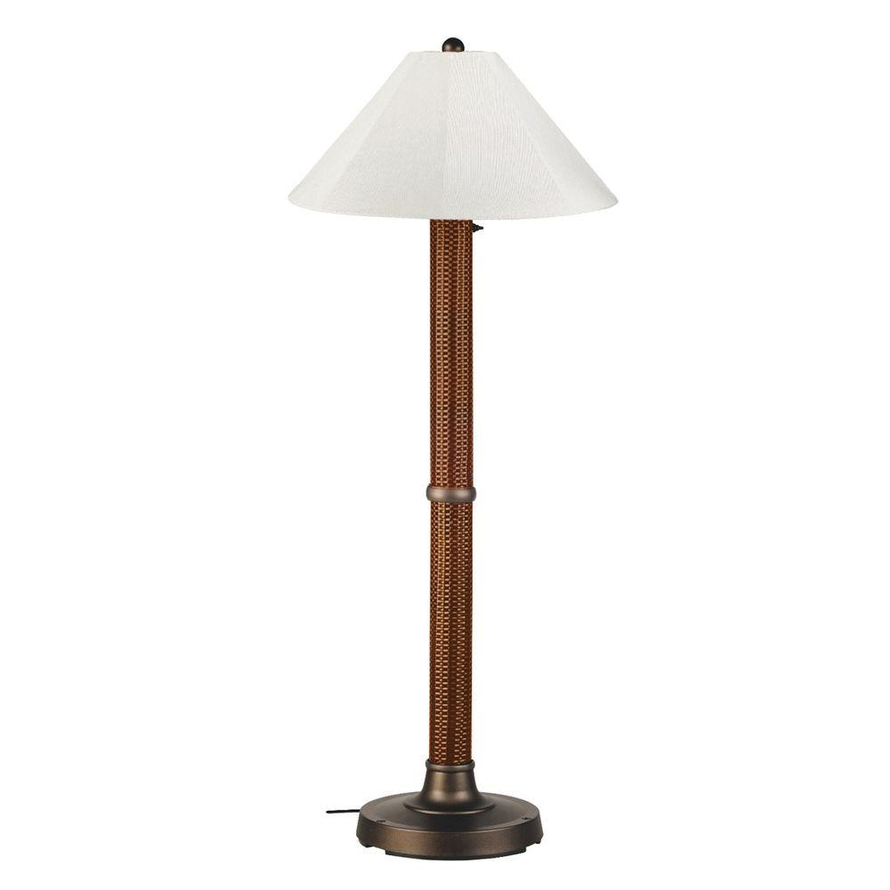 Patio Living Concepts Bahama Weave 60 in. Red Castango Floor Lamp with Natural Linen Shade
