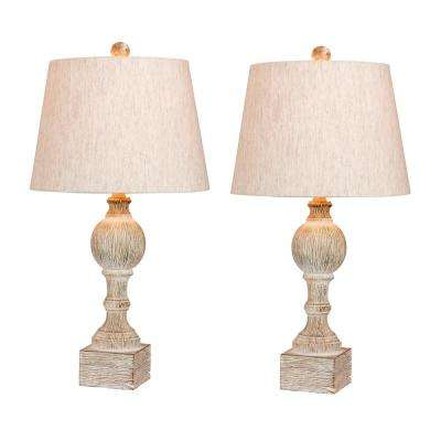 Pair of 26.5 in. Distressed Column Resin Table Lamps in a Cottage Antique White