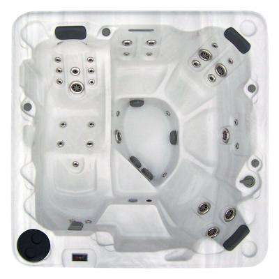 5-Person 111-Jet Lounger Spa with Stainless Steel Jets, Motion Glow LED Lights, and Hard Safety Cover