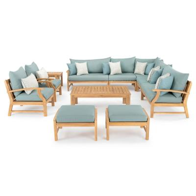 Kooper 11-Piece Wood Patio Deep Seating Conversation Set with Sunbrella Spa Blue Cushions