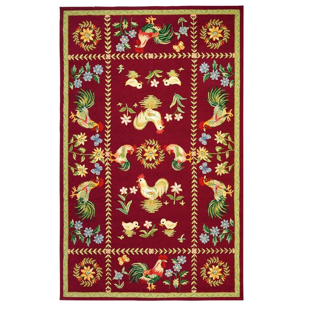 Home Decorators Collection Spring on the Farm Burgundy 7 ft. 9 in. x 9 ft. 9 in. Area Rug
