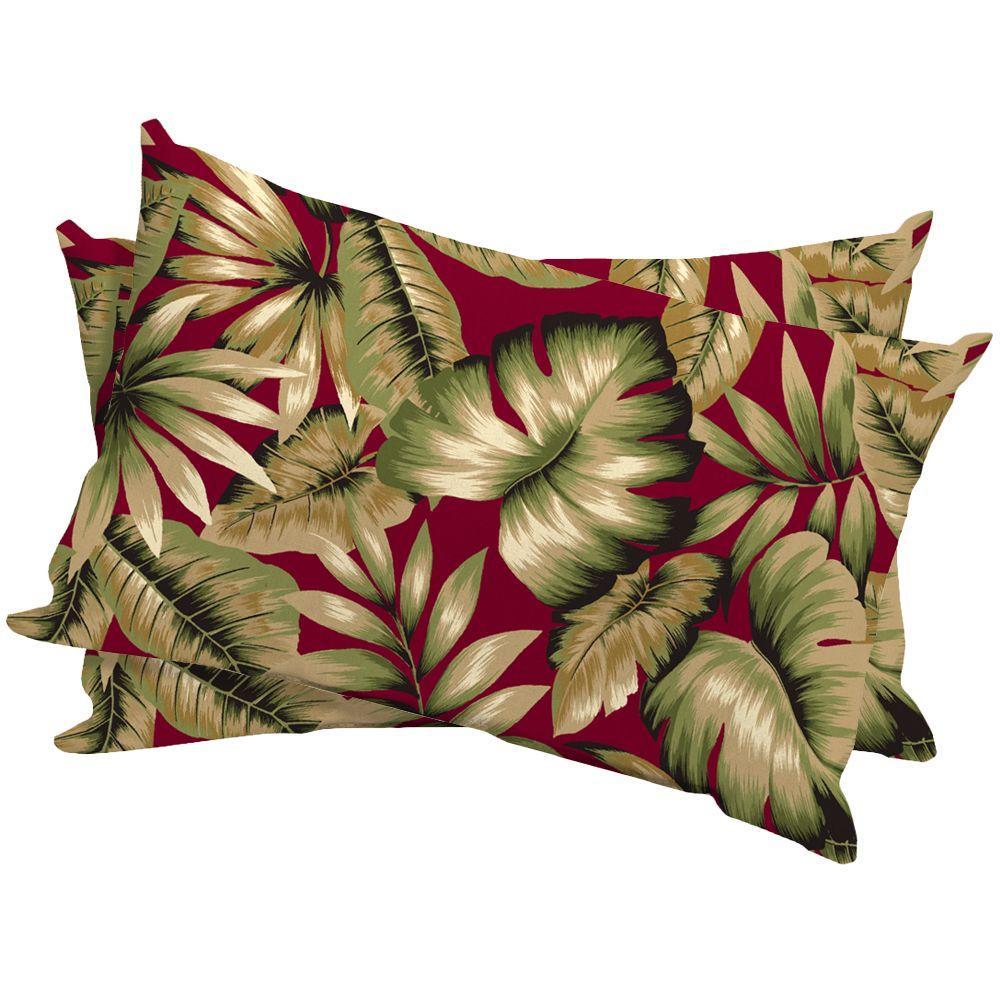 Hampton Bay Chili Tropical Outdoor Lumbar Pillow (2-Pack)