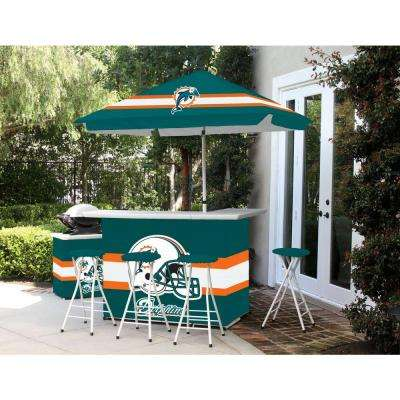 Miami Dolphins 6-Piece All-Weather Patio Bar Set with 6 ft. Umbrella