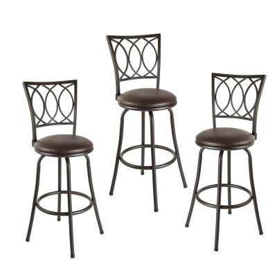 Virgil 38 in. Dark Brown Cushioned Adjustable Height Swivel Bar Stools (Set of 3)