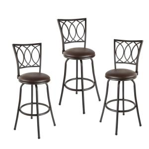 Sensational Virgil 38 In Dark Brown Cushioned Adjustable Height Swivel Bar Stools Set Of 3 Creativecarmelina Interior Chair Design Creativecarmelinacom