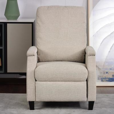 Recliner Chair Beige Nailhead Trim Recliners Manual Pushback Modern Armchair with Padded Seat