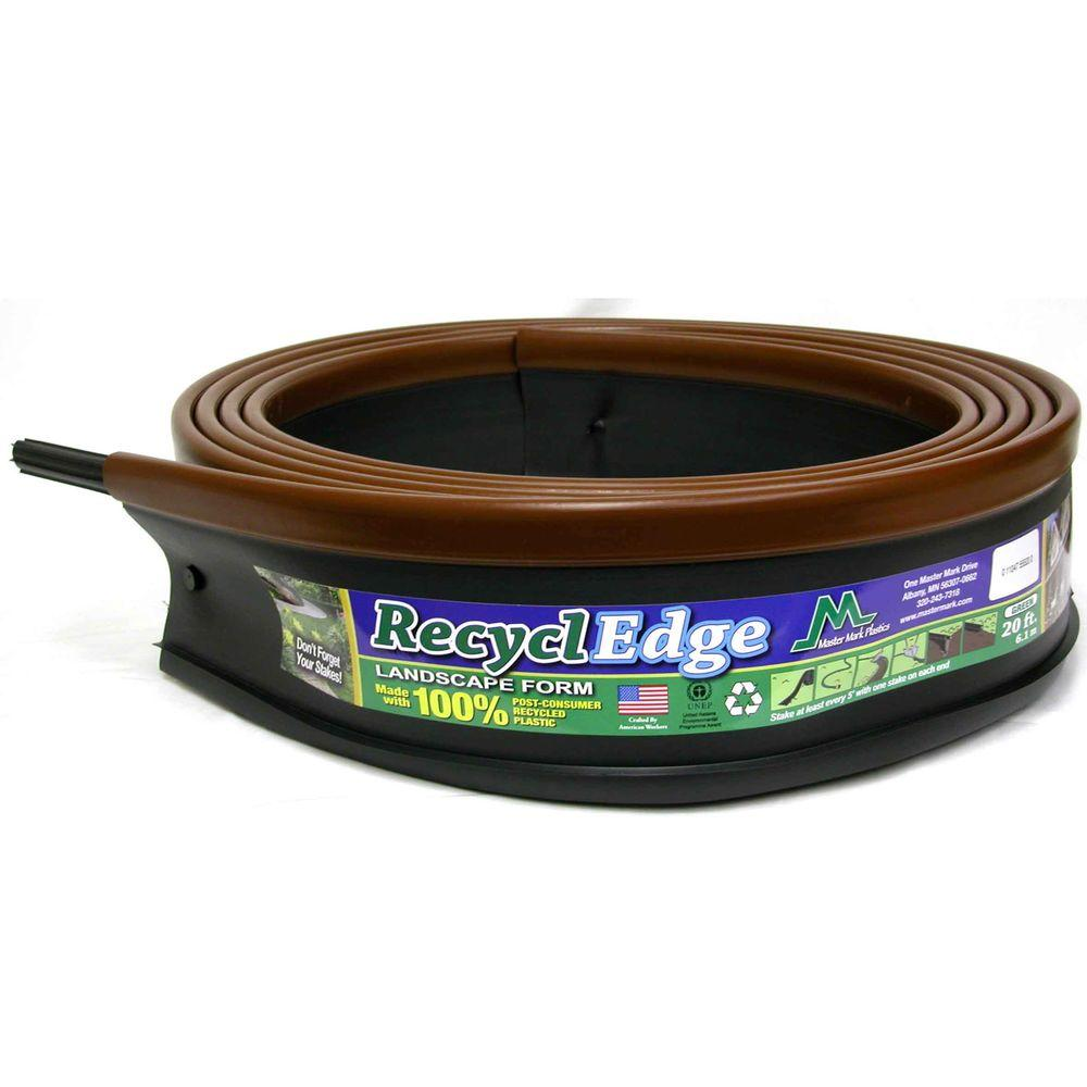 null RecyclEdge 20 ft. Recycled Plastic Landscape Lawn Edging Adobe with Stakes-DISCONTINUED