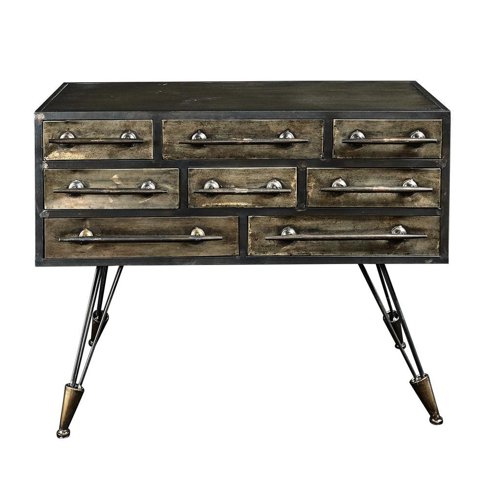 Linon Home Decor Cade Industrial Metal Console Table THD01990