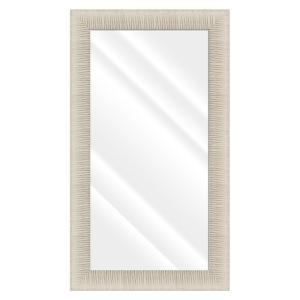 Large Rectangle Ivory W/ Shiny Silver Beveled Glass Contemporary Mirror (55.5 in. H x 31.5 in. W)