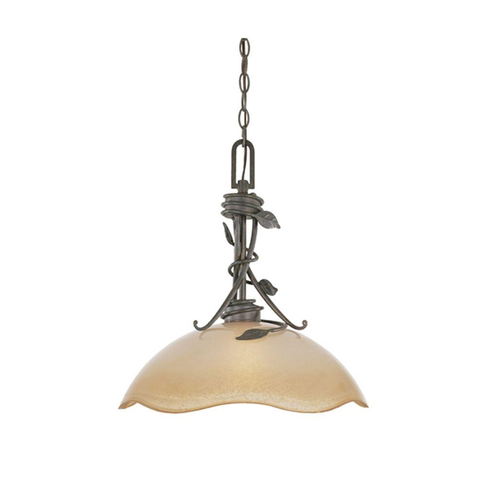 Belle Rose Collection 1-Light Old Bronze Hanging/Ceiling Down Light