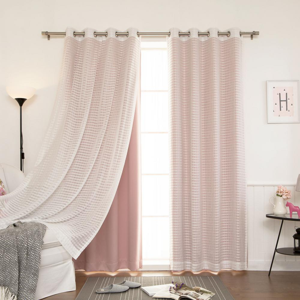 L Umixm Dusty Pink Sheer Checkered And Blackout Curtains In