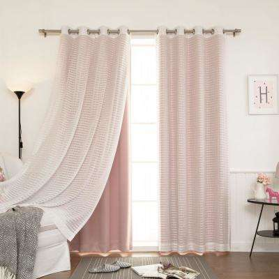 84 in. L uMIXm Dusty Pink Sheer Checkered and Blackout Curtains in (4-Pack)