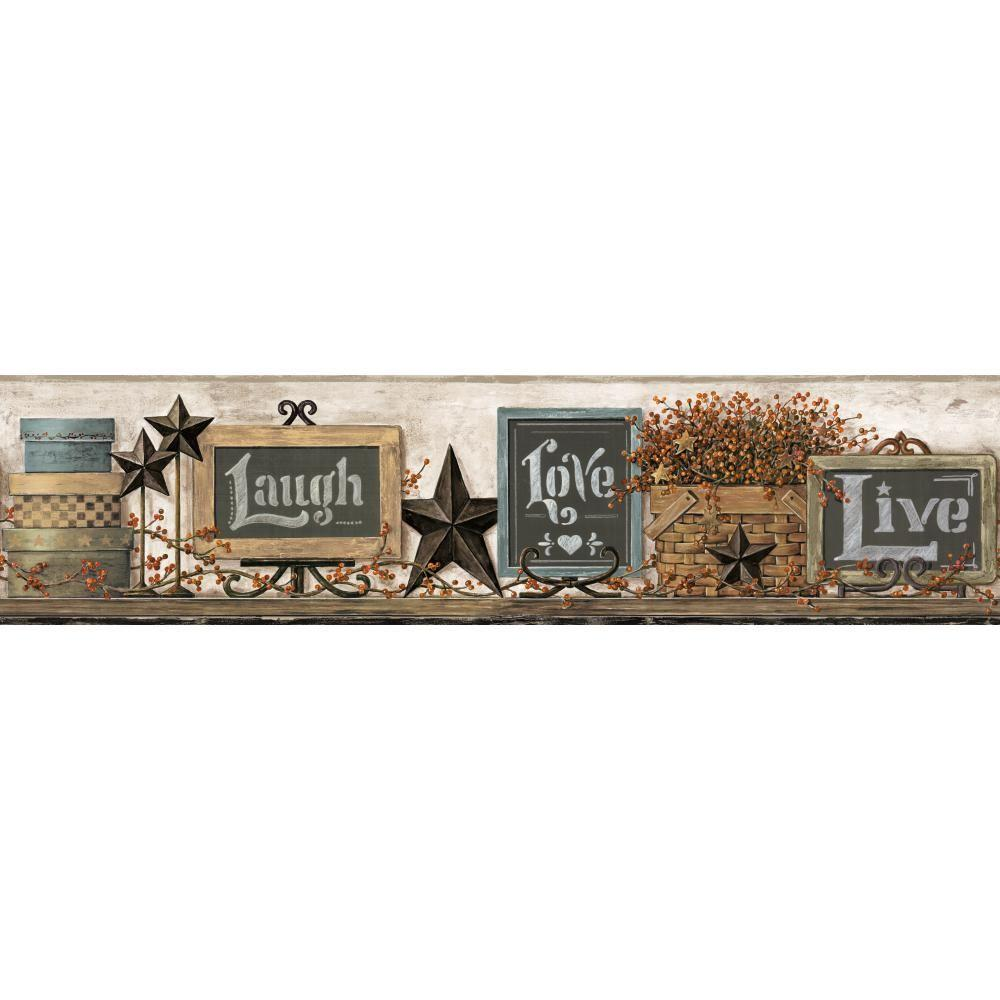 Country Keepsakes Country Chalkboard Shelf Wallpaper Border