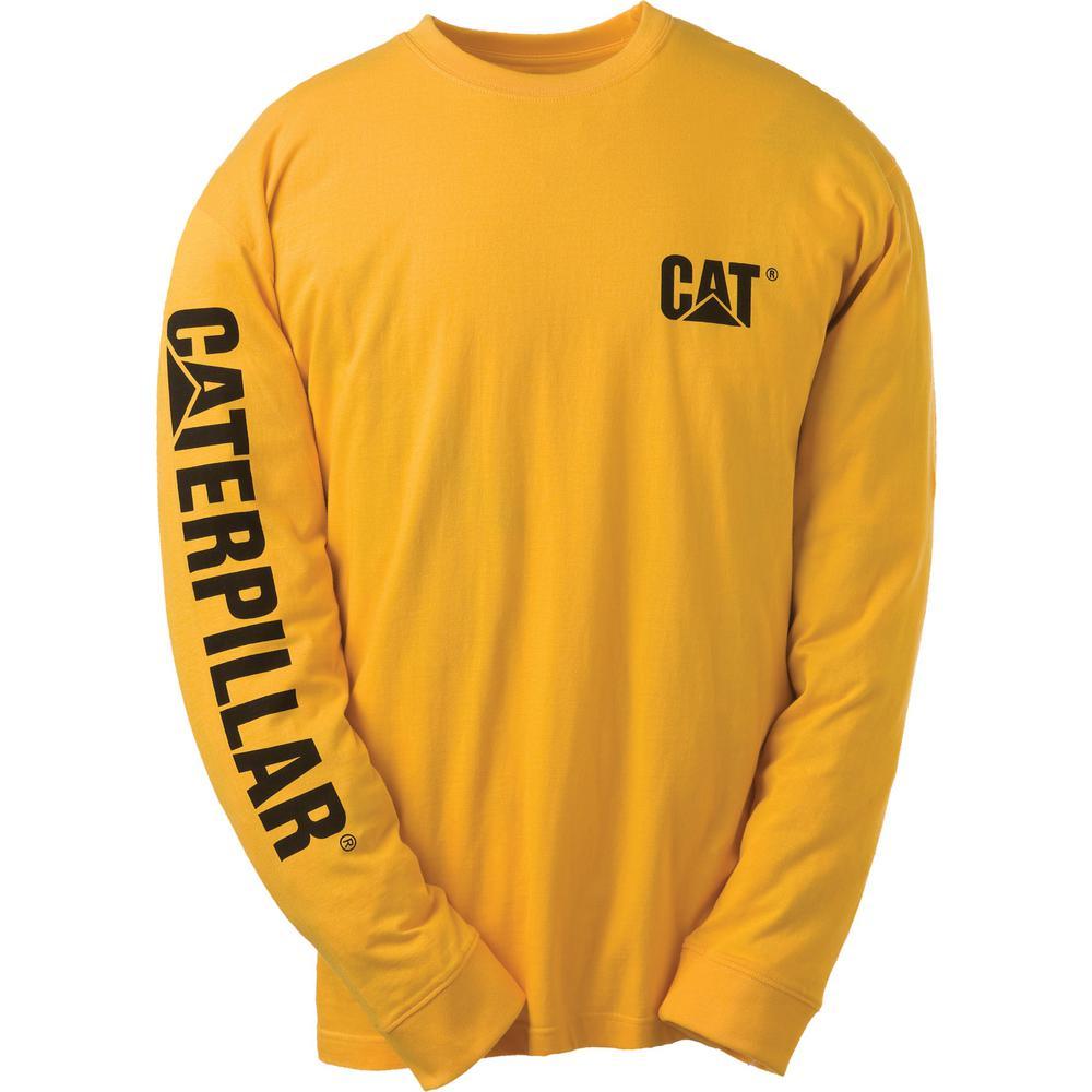 f9ec71f2d753 Caterpillar Trademark Banner Men's Tall-Large Yellow Cotton Long Sleeved T- Shirt-1510034x-555-TL - The Home Depot