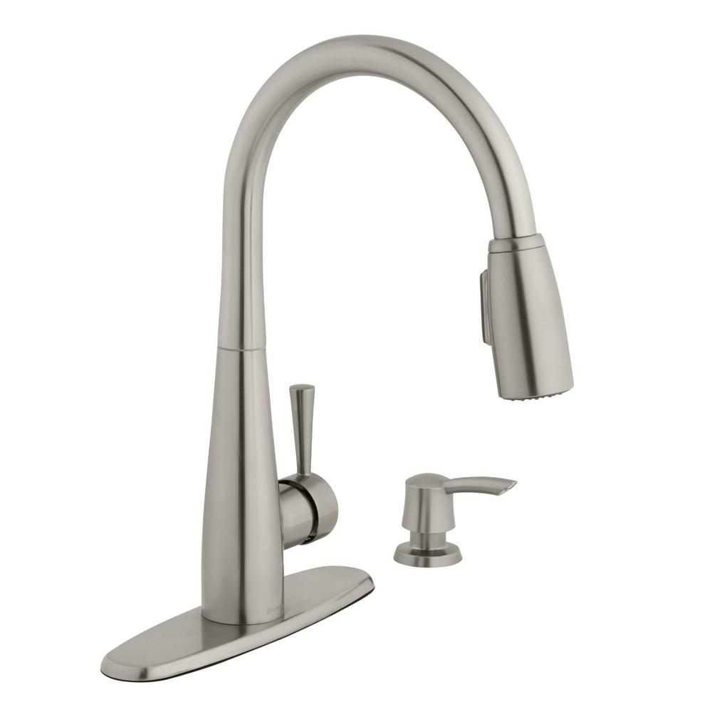 Glacier Bay 900 Series Single-Handle Pull-Down Sprayer Kitchen Faucet with  Soap Dispenser in Stainless Steel