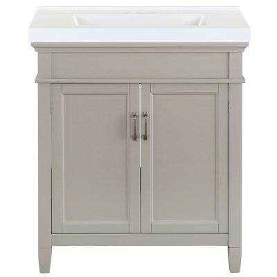 Ashburn 31 in. W x 22 in. D Bath Vanity in Grey with Cultured Marble Vanity Top in White with White Sink