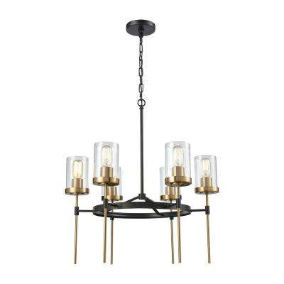 North Haven 6-Light Oil Rubbed Bronze with Satin Brass Accents Chandelier with Clear Glass Shades