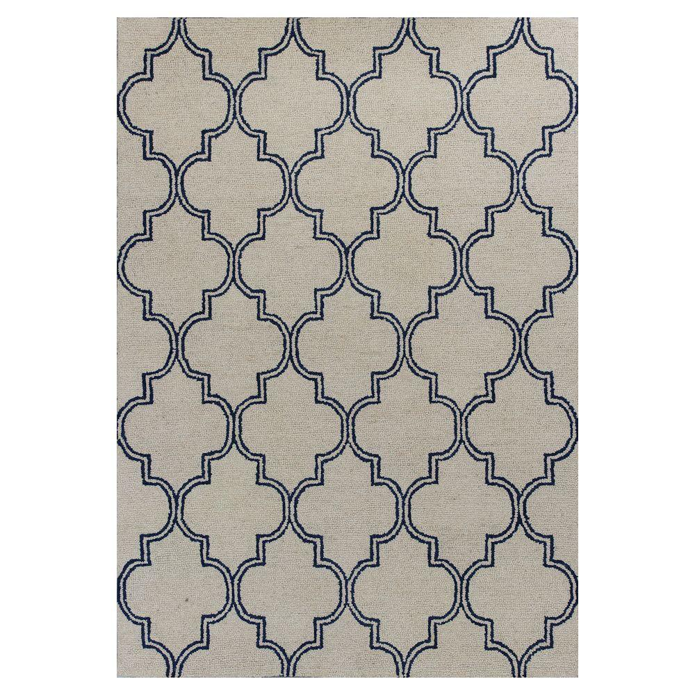 Kas Rugs Perfectly Mosaic Ivory/Navy 3 ft. 3 in. x 5 ft. 3 in. Area Rug