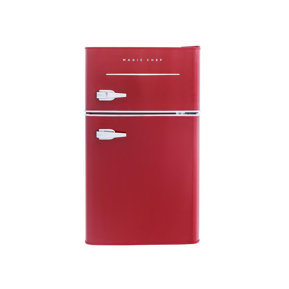 Retro 3.2 cu. ft. 2 Door Mini Refrigerator in Red