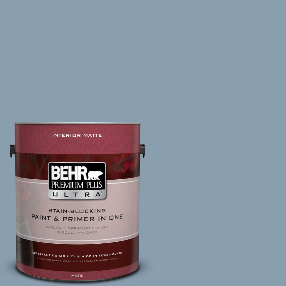 BEHR Premium Plus Ultra 1 gal. #BNC-08 Sonata Blue Matte Interior Paint