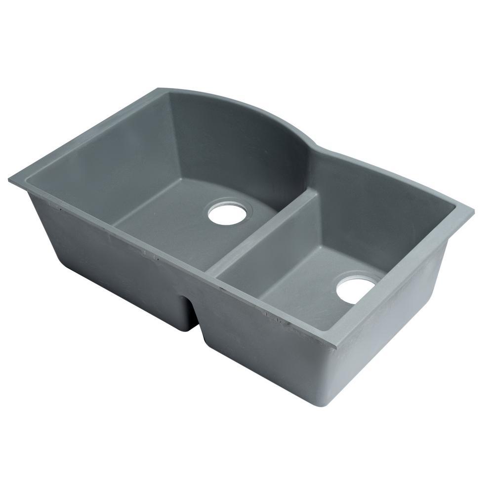Undermount Granite Composite 33 in. 35/65 Double Bowl Kitchen Sink in Titanium